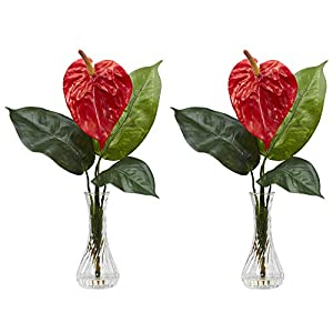 GREATHOPES Red Anthurium w/Bud Vase Silk Artificial Flower Decorative Artificial Arrangement (Set of 2) 31