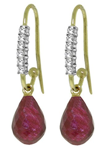14k Yellow Gold Fish Hook Earrings with Diamonds and Rubies