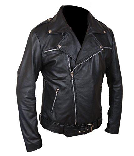 Walking Dead Costumes For Kids (F&H Boy's The Walking Dead Negan Genuine Leather Jacket XL Black)