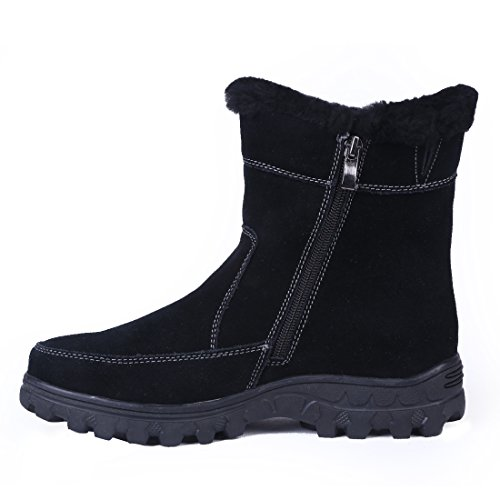 Bull Titan Dames Volledig Bont Gevoerde Platform Ritssluiting Winter Snowboots Zwart