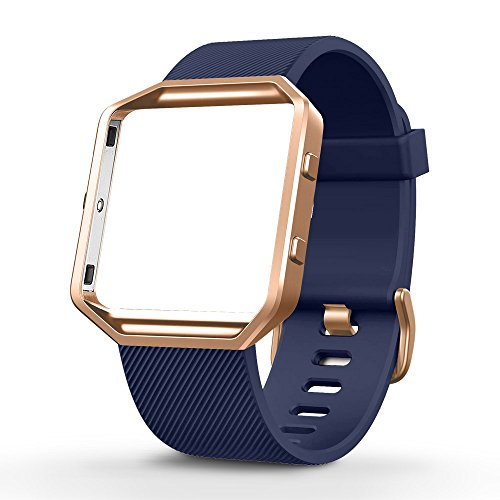 (UMTELE for Fitbit Blaze Bands, Silicone Replacement Strap with Stainless Steel Frame for Fitbit Blaze, Large, Navy )
