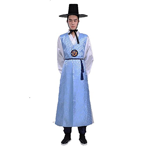 Lemail Men's Korean Traditional Costumes long sleeve Vintage Hanbok Sets Dress Light (Male Korean National Costume)
