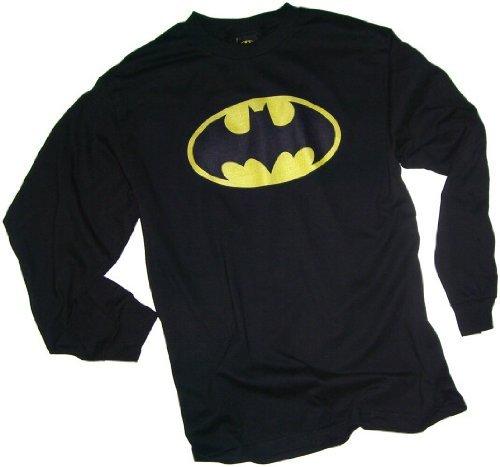 Bat Long Sleeve T-shirt - Batman Classic Logo Adult Long-Sleeve T-Shirt, Large
