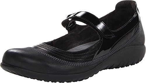 - NAOT Women's Kirei Black Madras Leather/Shiny Black Leather/Black Patent 42 M EU