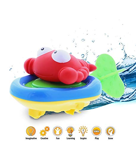 DolliBu Boat Racer Buddy, Fun Educational Bath Toy Finger Puppet Pull and Go Water Racing Pal for Shower Pool Bathtub Swim Hard Surfaces for Baby Toddler and Boy - 6 ()