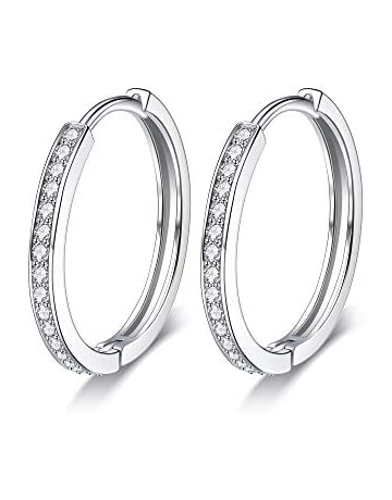 Lydreewam Women 925 Sterling Silver Hinged Hoop Earrings with 3A Cubic  Zirconia 4d5851c6e
