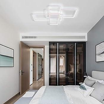 Image of CHYING Modern Ceiling Light, White Flush Mount LED Rectangle Light Fixture 70W 6000K White Light PVC Metal Lighting for Living Room Bedroom Study Home and Kitchen