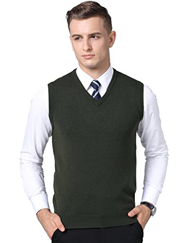 Kinlonsair Mens Casual Slim Fit Solid Lightweight V-Neck Sweater Vest (Large (US), Army Green) by Kinlonsair