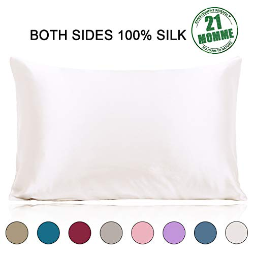 Ravmix 100% Pure Natural Mulberry Silk Pillowcase, 21 Momme 600 Thread Count Hypoallergenic Good for Skin & Hair Soft Breathable Queen Size with Hidden Zipper 1pcs (20×30 inches, Ivory White)