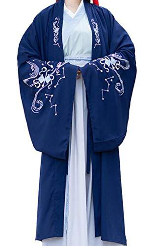 Hanfu Men Dance Costume for Woman Hanfu Ancient Costumes Wedding Dress,Navy Coat,XXL