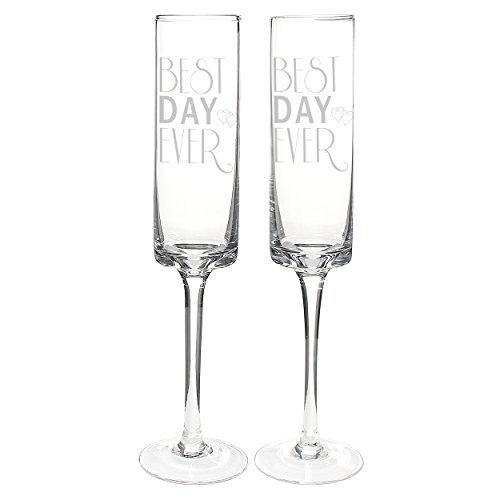 Cathy's Concepts Best Day Ever Contemporary Champagne Flutes, Set of 2 ()