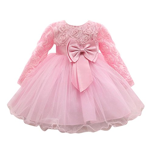Feitong Flower Baby Girl Long Sleeved Tutu Princess Bridesmaid Pageant Gown Birthday Party Wedding Dress