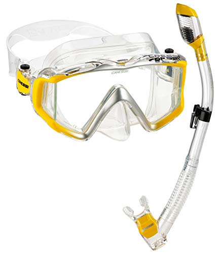 Cressi Italian Boutique Collection - Panoramic View Tempered Glass Lens Dive Mask - Purge Valve Dry Snorkel Set - Scuba Snorkeling Gear (Clear Yellow)
