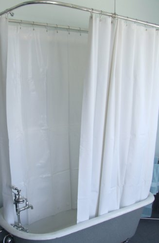 Extra Wide Vinyl Shower Curtain for a Clawfoot Tub/white with Magnets 180' X 70'