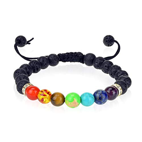 7 Chakra Yoga Healing Jewelry Lava Stone Bracelet with Essential Oil Diffuser - Aromatherapy