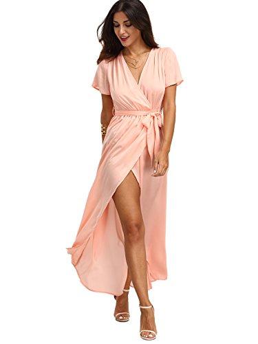 ROMWE Women's Summer Beach Short Sleeve V neck Long Wrap Maxi Dress Pink L