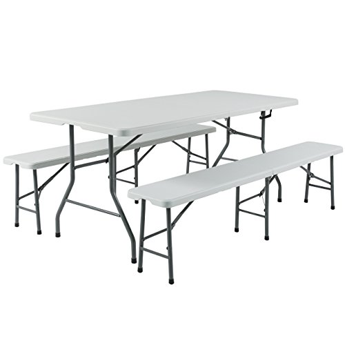 Best Choice Products 3pc Portable 6' Folding Table and Bench Set Combo Resin (Folding Table Set)