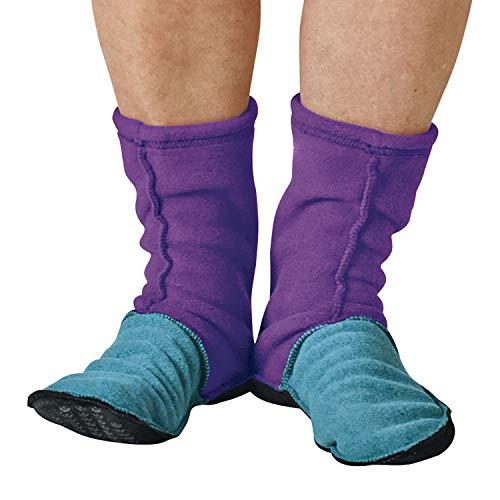 Adult MocSocks - Fleece Slipper Socks Non-Skid - Purple - Large