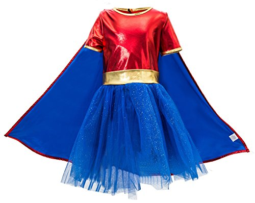 Lucky 7 Halloween Costumes (Girl's Deluxe Supergirl Halloween Party Costume with Cape (6-8 Years))