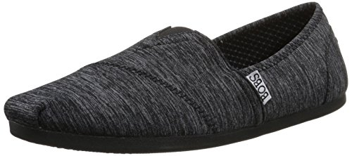 BOBS from Skechers Women's Plush-33910 Flat, Black Heather, 11 M US