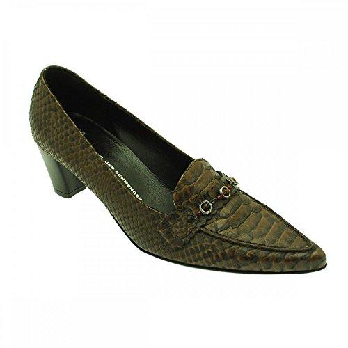 K&s Brown Croc Low Heel Brown