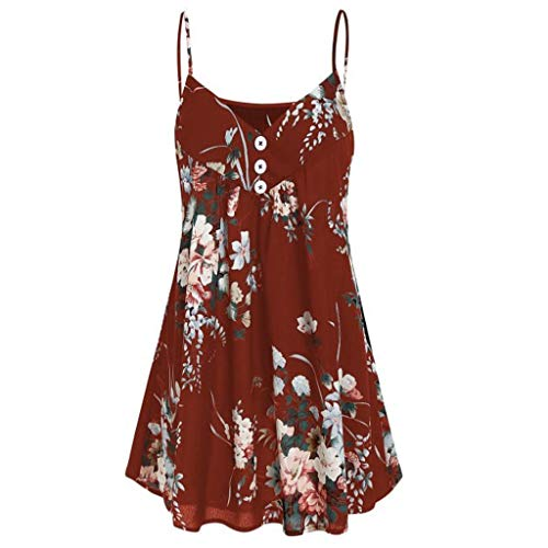 Whear Womens Casual Tank Tops Sleeveless Round Neck Floral Printed Vest Summer Sling Shirts Botton Pleated Tunic Blouse(Red, US 10/L)