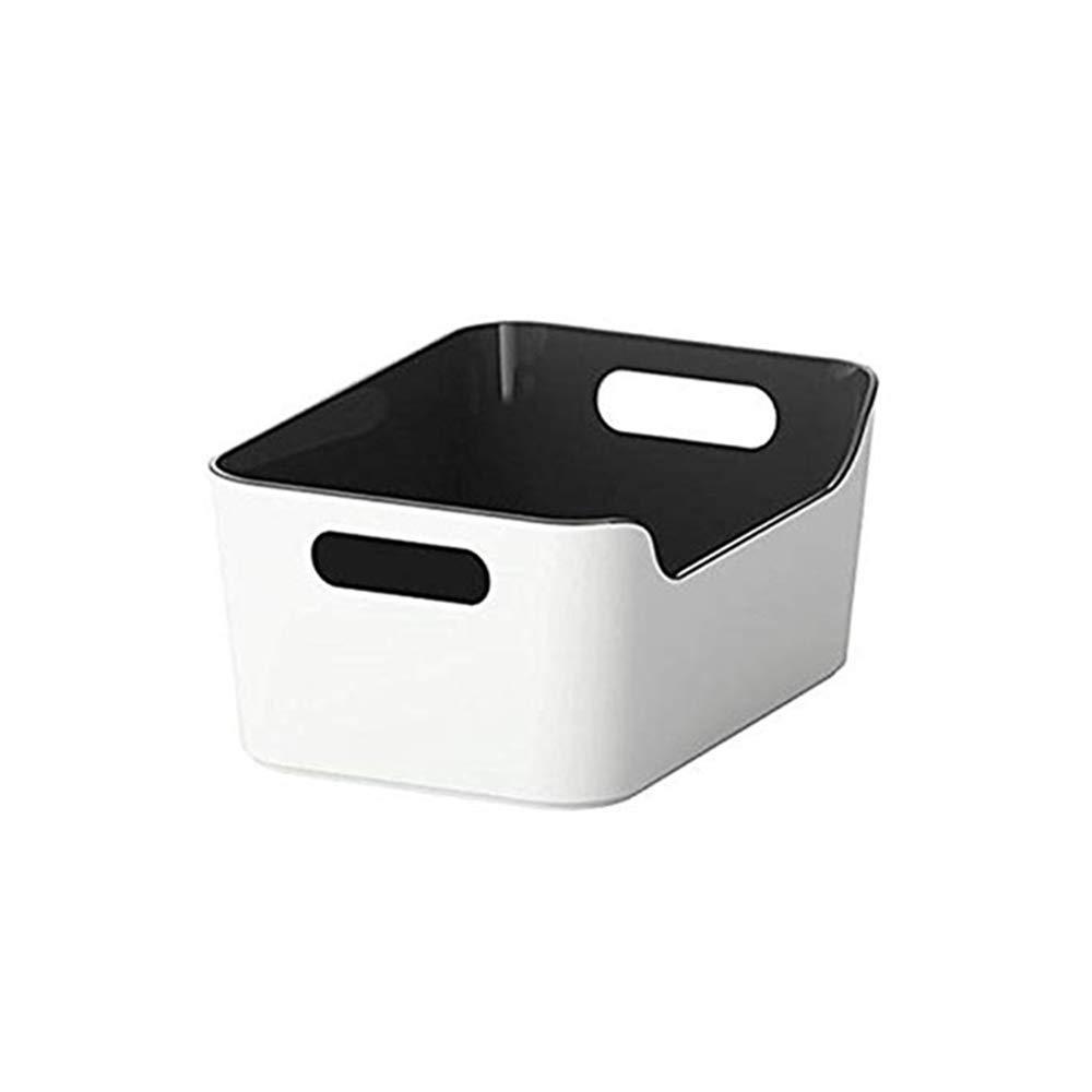 VARIERA Open Storage Box,Kitchen Cabinet and Pantry Storage Organizer Bin - Two Cut-Out Handles That Make 9.4 x 6.75 x 4.3 Inches (Black /White)