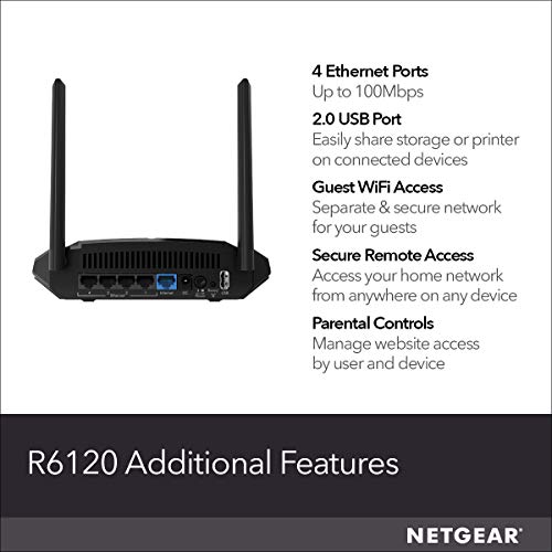 NETGEAR WiFi Router (R6120) - AC1200 Dual Band Wireless
