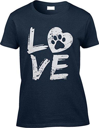Blittzen Womens/Ladies Love Paw Print In Heart, S, Navy Blue by Blittzen (Image #1)