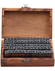 Rubber Stamp Letters Alphabets, Dedoot 70 pcs Alphabet Stamps for Pottery Vintage Wooden Number and Letter Symbol Alphabet Mini Stamps for Clay Crafts, Card Making, Kids Painting
