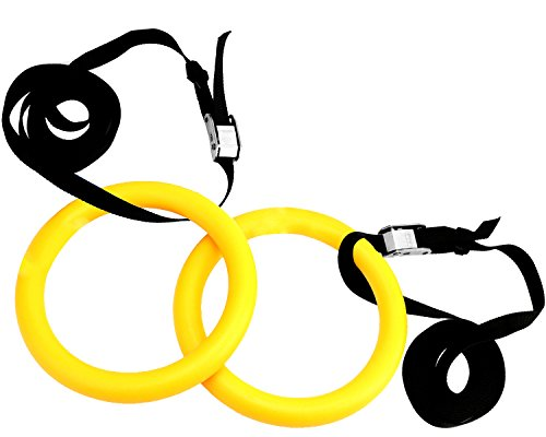 Reehut Gymnastic Rings W/ Adjustable Straps, Metal Buckles - Hydraulic Exercise Equipment