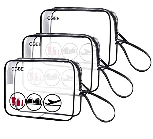 - 3pcs/pack CGBE TSA Approved Toiletry Bag with Durable Zipper, Clear Toiletry Bag for Liquid Bottles/Cosmetic 3-1-1 Travel Toiletry Bag with Handle Strap, Quart Size Carry on Makeup Pouch