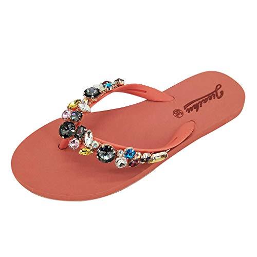 Shoes for Women Summer Simayixx Women's Teen Girls Beach Slippers Outdoor Holiday Sandals Gem Flip Flops Birthday Gifts Orange