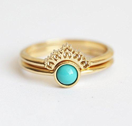 Amazon.com: Turquouse Ring, Gold Turquoise Set, Turquoise Wedding ...