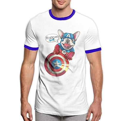 MiiyarHome Men's Ringer T-Shirt Superman Doggy, Men Short Sleeves Jersey Causal Tee Blue XXL