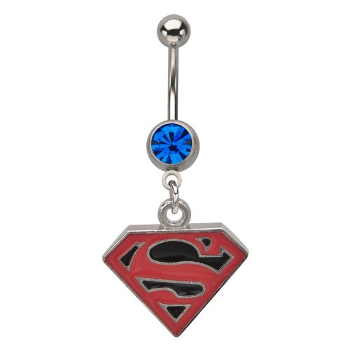 316L Surgical Steel Titanium Plated Dangle Superman Belly Ring With A Black Background And A Blue Gem - 14G (1.6mm) - Official Licensed Product, TM & © DC Comics -