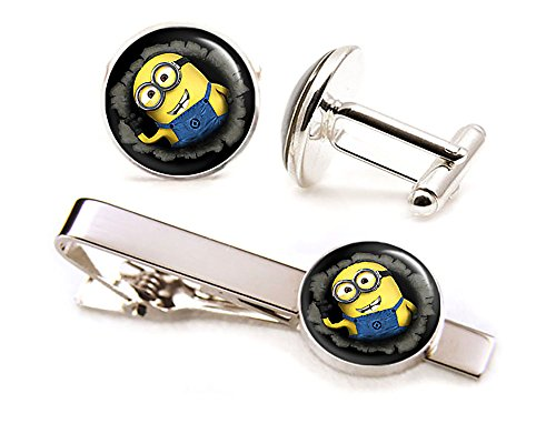 Minion Tie Clip, Despicable Me Minions Cufflinks Tack, Minnions Wedding Jewelry (Stuart Minnion)