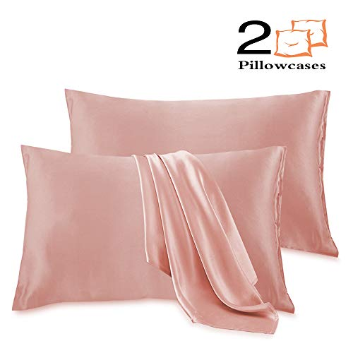 Leccod 2 Pack Silky Satin Pillowcase for Hair and Skin Cool Super Soft and Luxury Pillow Cases Covers with Envelope Closure (Coral Pink, Queen: 20x30) in USA