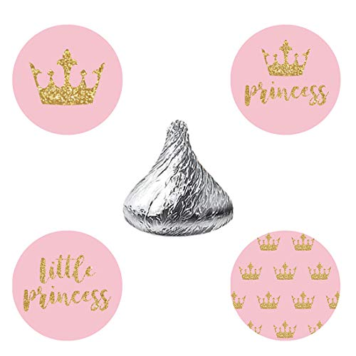 MAGJUCHE Pink Glitter Princess Candy Stickers, Gold Crown Girl Baby Shower Birthday Party Favor Labels, Fit Hershey's Kisses, 304 Count