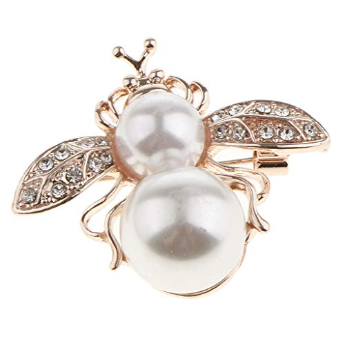 Bling Alloy Crystal Rhinestone Bee Butterfly Owl Brooch Pin Charm Jewelry | Style - Pearl Bee ()