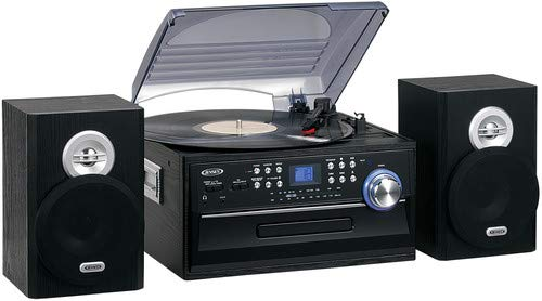 JENSEN JTA-475B 3-Speed Stereo Turntable with CD System, Cassette, and AM/FM Stereo (Best Stereo Turntable Cassette Cds)