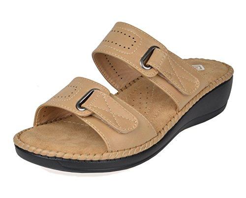 DREAM PAIRS Women's Truesoft_01 Beige Low Platform Wedges Slides Sandals Size 7 B(M) US