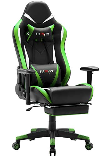 Ficmax High Back Computer Gaming Office Chair Recliner Rocker Tilt E-sports with Lumbar Massaging Support & Adjustable Headrest Pillow, Green/Black Ficmax