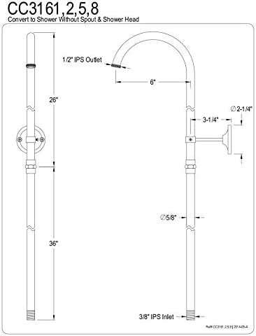 CLAWFOOT SHOWER RISER ONLY WITH WALL SUPPORT 3//8IPS//CO