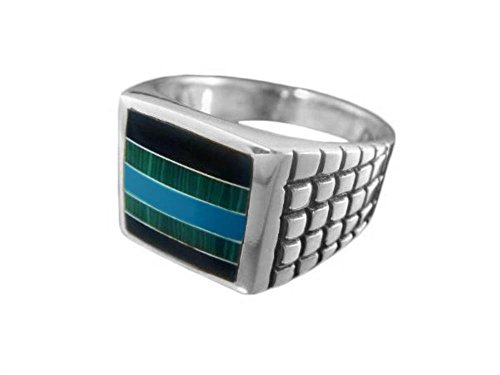 925 Sterling Silver Mens Square Onyx Malachite Turquoise Stone Set Inlay Checkered Band Ring (10) Checkered Band Ring