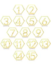 AIEX 15 Pcs Table Numbers 1-15 Hexagon Hollow Out Table Numbers Standing with Holder Base for Wedding Balls Party Event Catering Reception Decoration