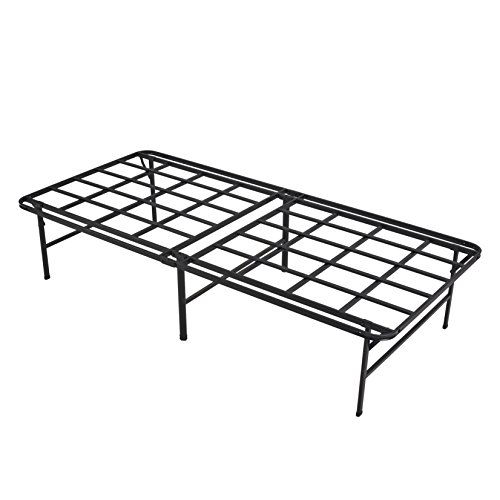 - HOMUS No Assembly Required Platform Bed Frame/16 Inch High Heavy Duty/Strong Smart Bed Base/Mattress Foundation/Black/Twin XL