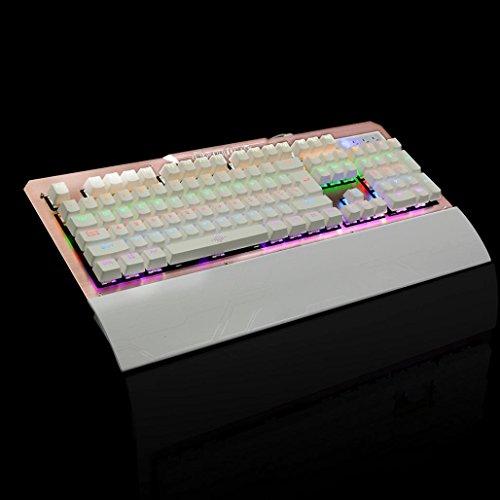 Bescita Mechanische Tastatur USB Gaming Schalter Backlit RGB Gaming Keyboard für PC Laptop Roségold nKuTg