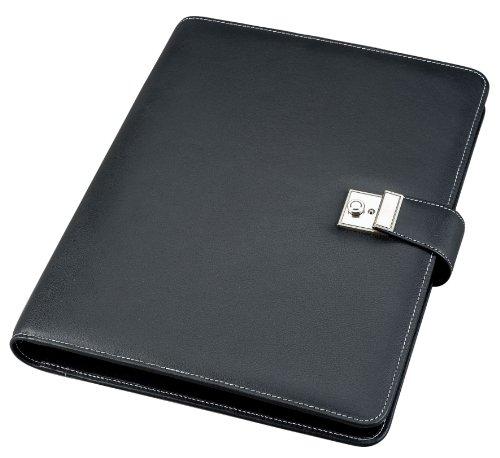 Alassio 31513 - Dokumentenmappe A4 mit 4 Ring-Mechanik, aus Nappaleder, schwarz