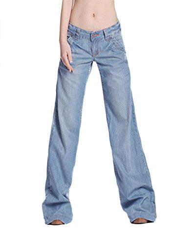 AvaCostume Women's Classic Washed Blue Wide Leg Bootcut Palazzo Jean Pants, 12 - High Waisted Wide Leg Jean